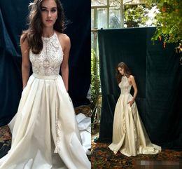 Wholesale elastic wraps - Lihi Hod 2017 Ivory Lace Boho Wedding Dresses with Pocket Elegant Jewel Neckline Back Zipper A Line Beach Bridal Gowns Custom Made