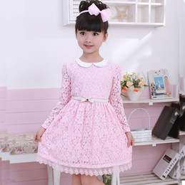 Wholesale Line Dolls For Free - Newest Summer 2016 Girl Dress Cotton Long Sleeve With Doll Neck Pink For Princess Kids Dresses With White Belt Baby Clothing Free Shipping