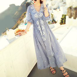 hippie clothes Promo Codes - Wholesale-Ethnic Embroidery Bohemian Boho Hippie Dress Maxi Long Linen vintage Tunic white blue Beach women summer clothing tunique femme