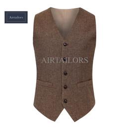 Wholesale mens vintage wool vests - 2018 Vintage Wool Herringbone Tweed Vests Brand Mens Suit Vest Slim Fit Farm Wedding Vest For Men Formal Waistcoat Men