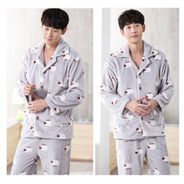 Wholesale Home Clothes Sleepwear - 2017 New Winter Pajamas Men Thick Fleece Pajama Sets Luxury Warm Sleepwear Plaid Suits Man Casual Home Clothes Pijama