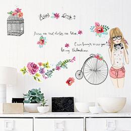 Wholesale Decals Girl Bird - Flower bird cage hand painted girl bike wall stickers bedroom kids room home decoration art decals murals vinly