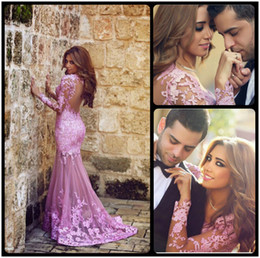 Wholesale Dark Beauty Dress - 2016 Beauty Pink Mermaid Evening Dresses Applique Lace Sheer Long Sleeve Tulle Backless Long Party Gowns Hot Custom Made
