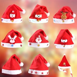 Wholesale Adult Cartoon Hats - 2018 new Christmas Ornament Adult Red Common Christmas Hat Santa   Child Cartoon Glowing Hat free shipping