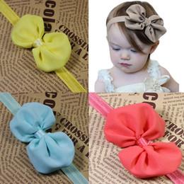 Wholesale Elegant Hair Bows - 2017 New Arrival Baby Girls 10 Colors Chiffon Bow Fashion Princess Headbands Childrens Elegant Fabric Headband