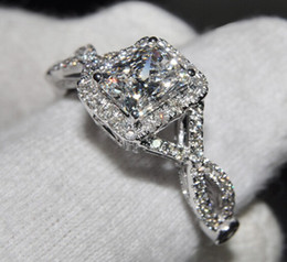Wholesale Inspired Rings - Lady's 925 Silver Filled Diamond Simulated CZ Stone Pave Set Wedding Ring Designer Inspired Jewelry
