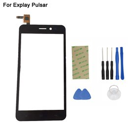 Wholesale 3m Brand Tape - Wholesale-Touch Panel For Explay Pulsar Touch Screen Digitizer Replacement Brand New Phone Front Glass With Sensor Black + 3M Tape + Tools