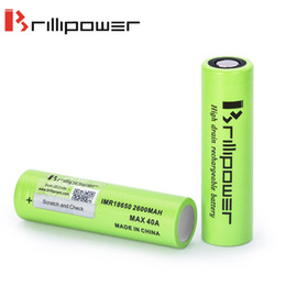 Wholesale High Rate Battery - Batteries Wholesale Authentic 2600mah Ecig Battery 40A Brillipower IMR 18650 High Discharge Rate E-cig Battery lithium Cells High Drain