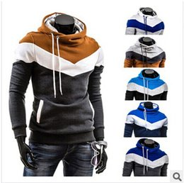 Wholesale Cheap Gray Hoodies - Fall-Winter New Men Hooded Coat Color Matching Sweatshirts Men's Teenagers Hoodies Cheap coat For Men casual jacket sportswear