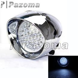 Wholesale Headlights Custom - Universal 28pcs LED Motorcycle ABS Chrome Headlight 12V Front Head Light For Custom Choppers Softail Dyna