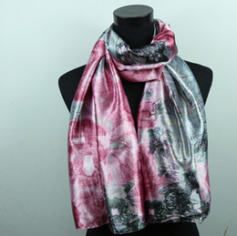 Wholesale Silver Silk Shawls Scarves - 1pcs Bright Silver Totem Pink Flower Women's Fashion Satin Oil Painting Long Wrap Shawl Beach Silk Scarf 160X50cm