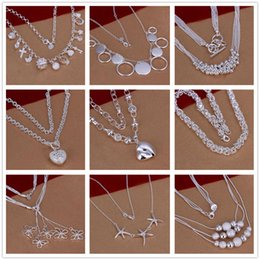 Wholesale Cheap Sterling Silver Pendants - New Design Mix style 9pcs LOT pretty cute cheap jewelry Lovely 925 sterling silver fashion different Necklace Beautiful jewelry