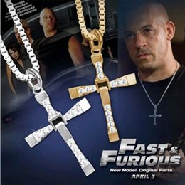 Wholesale Fast Plates - FAMSHIN free shipping Fast and Furious 6 7 hard gas actor Dominic Toretto   cross necklace pendant,gift for your boyfriend