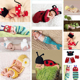 Wholesale Crochet Minnie - Wholesale-Free shipping Baby Girls Boy Newborn 0-6M Lovely Knit Crochet Mermaid Minnie Cute Clothes Photo Prop Outfits Fashion Baby's Sets