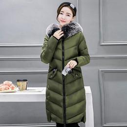 Sıcak satış 2017 yeni kış Faux kürk kürk yaka Ince uzun ceket rahat su geçirmez sıcak pamuk giyim bayan rahat moda kadın coats nereden