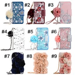 Wholesale Pattern For Flowers - Luxury Stereo Rose Flower Wallet Case Card slot Leather Phone Cover Colorful Flowers Pattern Cases For iPhone 8 7 6 plus Samsung S8