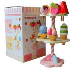 Wholesale Play Food Ice Cream - Christmas gifts Baby Toys Wooden Toys Mother Garden Strawberry Ice Cream Set Play Food Baby Pretend Play Toys Food Set Gift