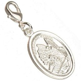 Wholesale Key Clasps - DIY St Michae Guardian Angel Charms With Clasps Dangles Necklaces Crafts Key Chains Pendants Shiny Silver Metal Jewelry Findings New 100pcs