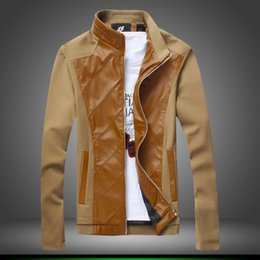 Wholesale Leather Jacket For Large Men - Wholesale trade exclusively for new men's single paragraph Korean collar jacket leather stitching large size M jacket