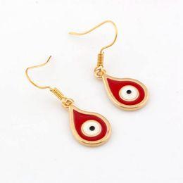 Wholesale Fishhook Earrings - Hot ! Earring , 20 Pair Zinc Alloy Red Enamel Evil Eye tear drop EARRINGS Plated gold Fishhook Ear Wire 34.5 x 11mm