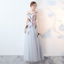 Wholesale Birds Models - Evening Dress Sweet Gray Sheer Scoop Neck Sleeveless Lace Up Back A Line Floor Length Lace Embroidery Birds Lllusion Party Prom Dress