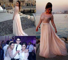 Elie saab vestidos de noiva on-line-Elie Saab Cristal Frisado Prom Vestidos 2019 Sheer Bateau Pescoço Mangas Compridas A Linha Capela Trem Chiffon Vestidos De Noite Celebridade Dressess
