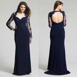 Wholesale Spandex Nude Women - Navy Dresses Evening Wear Sexy Sheer Long Sleeve Open Back Appliques Lace Sequins Floor Length Evening Gowns For Women Celebrity Dress