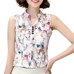 Elegante senhoras blusa stand colar on-line-Novas Mulheres Sem Mangas Chiffon Blusa Gola Floral Impressão Verão Blusa Casual Top Elegante Ladies Trabalho Camisa JCG1105