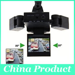 Wholesale korean lenses wholesale - New Dual Two Lens Car DVR Cam Recorder Night Vision Vehicle Camera Video H303 dvr video recorder 010224