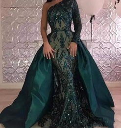 Wholesale Holiday Dubai - Saudi Arabic Dubai Evening Dresses 2018 One Shoulder Sparkly Sequins Zipper Back Formal Celebrity Party Gowns With Overskirt Holiday Dresses