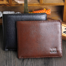 Wholesale Mens Wallet Leather Pockets - New Vintage PU Mens Wallets Fine Bifold Brown Black PU Leather Credit Card Cool tri fold Wallet for men A086