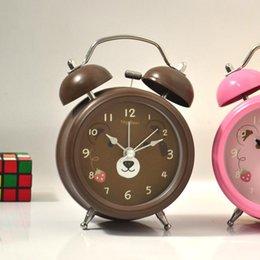 Wholesale Teddy Bear Clocks - new new The lacquer that bake 50 PCS lots fashion cute teddy bear 3 inch lazy alarm clock mute 1113#13