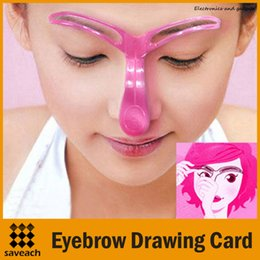 Wholesale Eye Stencil Kit - Stencil Styling Eyebrow Drawing Card Stereo Makeup Eyebrow Stencil Kit Eyes Cosmetics Tool Professional Eyebrow Shaping Tool