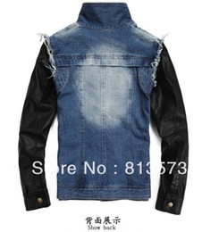 Wholesale Denim Pu Jacket - Fall-2015 Newest Fashion Justin Bieber Clothes Mens Vintage Motorcycle PU Leather Patchwork Sleeve Denim Jacket Coat
