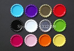 Wholesale Mixed Metal Jewerly - Wholesale-Free Shipping 100 pcs lot Mix Colored Flattened Bottle Caps Flat Bottlecaps For Diy Hairbow Pendant Craft Jewerly Accessories