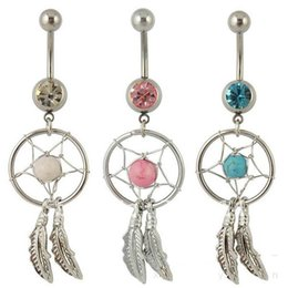 Wholesale dream catcher body jewelry - Wholesale - Dream Catcher Jewelry Dangling Belly Button Rings Navel Ring Body Piercing Jewelry 5 Colors for choices