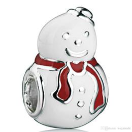 Wholesale Chain Snowman - Hot Sale Wholesale Happy Snowman Charm 925 Sterling Silver European Charm Bead Fit Snake Chain Bracelet Women DIY Jewelry