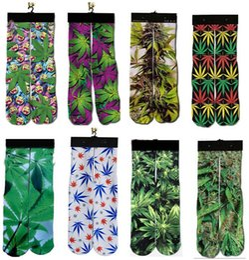 Wholesale Leaf Printed - Fashion Sports Stockings Man Women Socks 3D Printed Maple leaves leaf Socks Hip Hop Soft Cotton Sock Unisex SOX socks