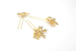Wholesale Hair Barrette Crystal Handmade - 2016 Hot Sale Gold Leaf Bridal Hair Pins Handmade Beads Headpieces Classic Crystal Hair Brand Vintage Girl's Hair Accessories CPA505