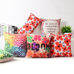 Wholesale Throw Pillows For Sofas - modern bright colors cushion cover flower bloom funda cojin cojines petals dots throw pillow case for car sofa