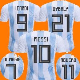 Wholesale Football Nation - New 2018 Nation Argentina DYBALA Messi World Cup Soccer Jerseys 2018 2019 camisetas Russia DI MARIA ICARDI AGUERO Football maillots Shirts
