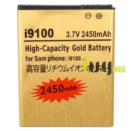 Wholesale Gold Battery Galaxy S2 - 2450mAh EB-F1A2GBU Gold Replacement Battery For SamSung Galaxy S II S2 GT-i9100 I9103 i9050 B9062 I9108 M340S Batterie Batterij 100pcs  lot
