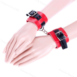 Wholesale Leather Sex Ladies - BDSM Toys Hands Bound Together Handcuffs Adult Restraint Accessories Leather Ladies Women Bondage Set Sex Products Sex toys