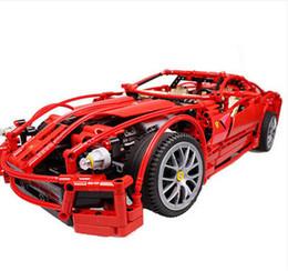 Wholesale Game Car Racing - Wholesale-decool 3333 599GTB Building Blocks Toy 1:10 car model Supercar red assemblage legoe F1 Racing brain game gift free shipping