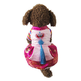 Wholesale Silk Dog Clothes - 2017 New Dog Korea Nationality Clothes Temperament Pets Winter Thickening Clothes Tradition silk Embroidered Hanbok Classical Elements Style