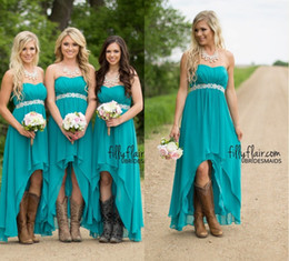 Wholesale Strapless Turquoise Dress Long - 2018 Modest Western Country Style Maternity Short Bridesmaid Dresses Strapless Turquoise Chiffon High Low Bridesmaids Gowns Under 100