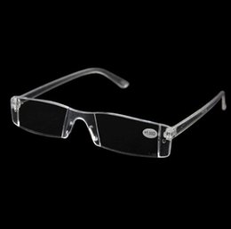 Wholesale People Reading - Men Women Clear Reading Glasses,Transparent Plastic Rimless Presbyopia Pocket Reader, +RX Optic Glasses for Aging People 1.00-4.00 Diopter
