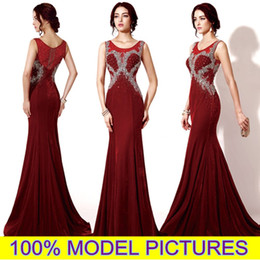 Wholesale Jewel Velvet Dress - New Burgundy Evening Dresses 100% MODEL PICTURE Long Velvet Prom Formal Gowns Mermaid Sheer Neck Rhinestones Crystal Custom Made Arabic