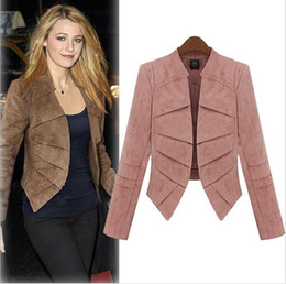 Wholesale Khaki Leather Sleeve Jacket - Women Clothes Fashion Short Blazer 2015 Europe Plus Size 5XL Ladies Small Suit Jacket Solid Color Cotton Cloth Leather Cashmere Coat Blazers