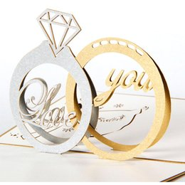 Wholesale Vintage Greetings Cards - New 3D Handmade Card diamond ring Greeting Cards Vintage Carriage Creative 3D Pop UP Greeting & Gift Wedding Cards